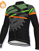 cheap -21Grams Men's Long Sleeve Cycling Jacket Winter Fleece Spandex Black Gear Bike Jacket Mountain Bike MTB Road Bike Cycling Fleece Lining Warm Sports Clothing Apparel / Stretchy / Athleisure