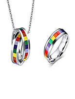 cheap -lgbt gay &lesbian proud stainless steel enamel rainbow ring pendant combination packages (rainbow pendant + ring, 10)
