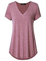 cheap -women's short sleeve v neck flowy loose tunic shirt casual tee (xxl,red)