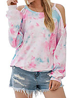 cheap -women's tie dye t shirt cold shoulder tops long sleeve graphic tees casual blouse(xl,tie dye)