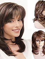 cheap -Synthetic Wig Curly With Bangs Wig Medium Length Brown Synthetic Hair Women's Soft Cool Highlighted / Balayage Hair Brown