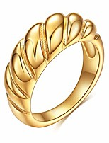 cheap -gold chunky croissant dome ring stainless steel signet rings for women gold chunky ring bold statement rings chic jewelry (size 7-9) (b: gold rope dome ring, size 7)