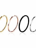 cheap -4pcs 1mm titanium stainless steel women plain stacking rings knuckle bands classic wedding bands silver-gold-rose tone-black 6-10