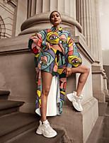 cheap -Women's Streetwear Print Two Piece Set Crop Loungewear Shorts Drawstring Tops