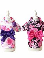 cheap -bowknot dog dress summer pet clothes japan kimono ethnic chihuahua puppy cat floral princess costumes