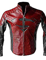 cheap -superman smallville man of steel motorcycle red and black leather biker jacket | superman jacket | all sizea (xl)