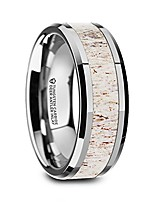 cheap -whitetail | tungsten rings for men | tungsten | comfort fit | wedding ring band with off white deer antler inlay and polished beveled edge - 8mm