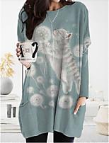 cheap -Women's T Shirt Dress Tee Dress Knee Length Dress - Long Sleeve Print Patchwork Print Spring Fall Casual Loose 2020 Light Green S M L XL XXL 3XL