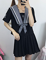 cheap -Inspired by JK Schoolgirls Skirt Cosplay Costume Polyester / Cotton Blend Solid Color Top For Women's