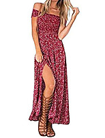 cheap -womens sexy summer off the shoulder floral printed slit strapless bardot maxi beach bohemian dresses(red, large)