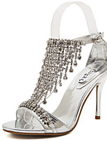 cheap -Women's Sandals Stiletto Heel Peep Toe Sexy Daily PU Rhinestone Solid Colored Gold Silver