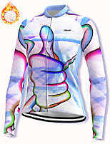 cheap -21Grams Women's Long Sleeve Cycling Jacket Winter Fleece Spandex White Bike Jacket Mountain Bike MTB Road Bike Cycling Fleece Lining Warm Sports Clothing Apparel / Stretchy / Athleisure