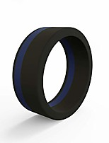 cheap -men's silicone pinstripe ring, thin blue line - honoring police and law enforcement, size 9