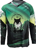 cheap -21Grams Men's Long Sleeve Downhill Jersey Spandex Green Bike Jersey Top Mountain Bike MTB Road Bike Cycling UV Resistant Quick Dry Sports Clothing Apparel / Athletic