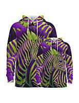 cheap -Family Look Active Graphic Optical Illusion Animal Print Long Sleeve Regular Hoodie & Sweatshirt Purple
