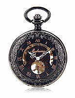 cheap -pocket watch unisex tungsten steel concave convex mirror manual mechanical pocket watch rose gold roman personality word retro pocket watch with chain
