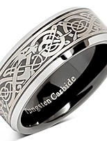 cheap -tungsten ring for men black wedding band celtic dragon engraved engagement promise beveled size 8-15 (10)
