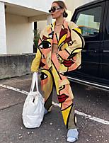 cheap -Women's Streetwear Distressed Print Two Piece Set Crop Pant Loungewear Drawstring Tops