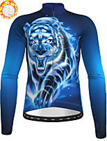 cheap -21Grams Men's Long Sleeve Cycling Jacket Winter Fleece Polyester Blue Tiger Bike Jacket Top Mountain Bike MTB Road Bike Cycling Thermal Warm Fleece Lining Breathable Sports Clothing Apparel