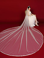 cheap -Two-tier Comtemporary Wedding Veil Cathedral Veils with Trim POLY