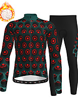 cheap -21Grams Men's Long Sleeve Cycling Jersey with Tights Winter Fleece Polyester Black / Red Bike Clothing Suit Fleece Lining Breathable 3D Pad Warm Quick Dry Sports Graphic Mountain Bike MTB Road Bike