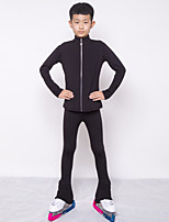cheap -Figure Skating Jacket with Pants Boys' Ice Skating Top Bottoms Black Spandex High Elasticity Training Competition Skating Wear Crystal / Rhinestone Long Sleeve Ice Skating Figure Skating / Kids