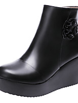 cheap -Women's Boots Wedge Heel Round Toe Booties Ankle Boots Casual Daily Walking Shoes PU Flower Solid Colored Black / Silver Black / Booties / Ankle Boots