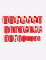 cheap -24PCS Watermelon Red Fake Nail Sticker Wearable Nail Finished Nail Piece Removable Nail Sticker European and American French Ballet Pointed Nail Piece