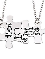 cheap -friendship necklace for 2 side by side best friends close in heart necklace set