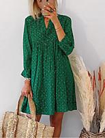 cheap -Women's Chiffon Dress Short Mini Dress - 3/4 Length Sleeve Print Print Spring Summer Shirt Collar Casual vacation dresses Lantern Sleeve Loose 2020 Green S M L XL XXL