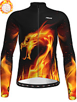 cheap -21Grams Men's Long Sleeve Cycling Jersey Winter Fleece Polyester Black / Orange Bike Jersey Top Mountain Bike MTB Road Bike Cycling Fleece Lining Breathable Warm Sports Clothing Apparel / Stretchy
