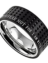 cheap -black stainless steel bible verse ring, isaiah 41:10 fear not, modern style (10)