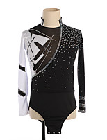 cheap -Figure Skating Top Men's Boys' Ice Skating Top Black / White High Elasticity Training Competition Skating Wear Crystal / Rhinestone Long Sleeve Ice Skating Figure Skating / Kids