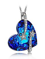 cheap -heart necklaces for women with blue crystals from swarovski gifts for women jewelry for women christmas gifts for her wife birthday gifts for best friend mom grandma i love you moon star