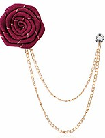 cheap -men ribbon cloth rose flower brooch.chain fringed suit corsage breastpin,red blue flowers boutonniere pins wedding brooch (red)