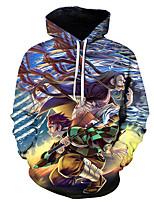 cheap -Inspired by Demon Slayer Kamado Nezuko Kamado Tanjirou Cosplay Costume Hoodie Polyester / Cotton Blend 3D Printing Hoodie For Men's / Women's