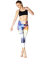 cheap -Women's Basic Yoga Comfort Daily Gym Leggings Pants Print Patterned Sunset Calf-Length Patchwork Print White