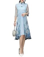 cheap -women lady chinese style summer vintage swing dress qipao cheongsam cocktail dress (blue, asian xxl)