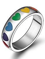 cheap -6mm stainless steel enamel heart rainbow ring lgbt lesbian gay pride wedding band,size 10
