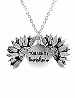cheap -you are my sunshine engraved necklace sunflower locket necklace gift for women girls-silver
