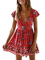 cheap -women's bohemian floral printed v neck short sleeve button down elastic waist beach mini dress white