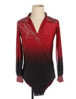 cheap -Figure Skating Top Men's Boys' Ice Skating Top Red High Elasticity Training Competition Skating Wear Crystal / Rhinestone Long Sleeve Ice Skating Figure Skating / Kids