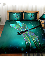 cheap -Dragonfly Print 3-Piece Duvet Cover Set Hotel Bedding Sets Comforter Cover with Soft Lightweight Microfiber, Include 1 Duvet Cover, 2 Pillowcases for Double/Queen/King(1 Pillowcase for Twin/Single)