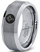 cheap -tungsten christian catholic cross heart shaped band ring 8mm men women comfort fit gray bevel edge brushed polished size 10