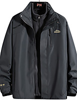cheap -Men's Hiking 3-in-1 Jackets Winter Outdoor Solid Color Waterproof Windproof Fleece Lining Warm Winter Jacket Fishing Climbing Camping / Hiking / Caving Dark Grey White Black