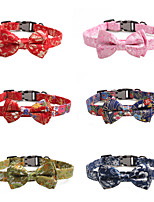 cheap -Dog Collar Tie / Bow Tie Adjustable Retractable Durable Outdoor Walking Classic Bowknot Flower Nylon Small Dog Medium Dog Red Dark Red Blue Pink Green 1pc