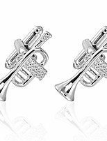 cheap -musical instrument cufflinks - 6 styles to choose from - guitar, trumpet, keyboard, violin, saxophone, drums (trumpet)