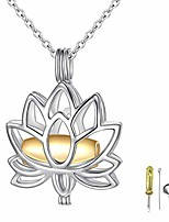 cheap -s925 sterling silver lotus memorial pendant necklace with hollow urn cremation keepsake jewelry for ashes