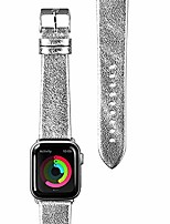 cheap -- metallic leather watch strap for apple watch series 1/2/3/4/5 | genuine leather | stainless steel clasp & connectors (38mm / 40mm • silver)