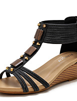 cheap -Women's Sandals Wedge Heel Round Toe Casual Daily Walking Shoes Faux Leather Solid Colored Black Gold Brown